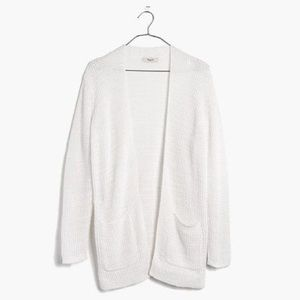 Madewell Postcript Open Front White Cardigan